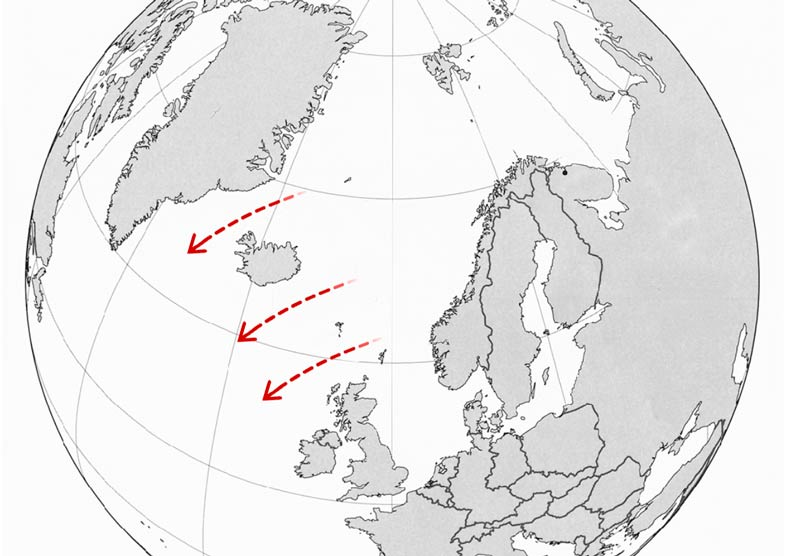 map of the GIUK Gap (the Greenland, Iceland, UK naval choke point)