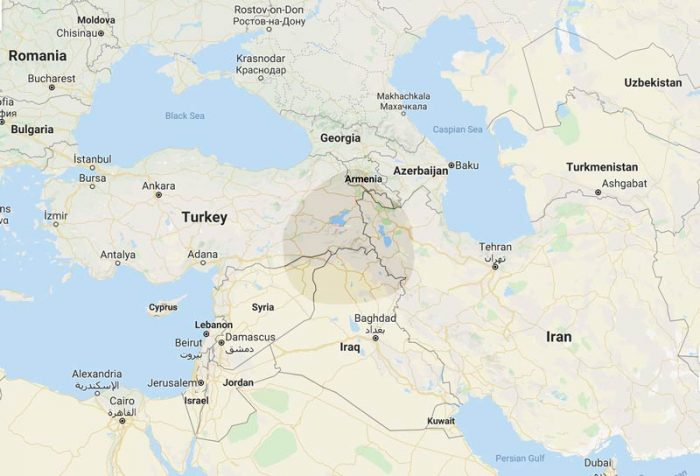 map of Kurdistan showing how it covers a large part of eastern Turkey, northern Iraq, and western Iran and smaller areas in the north of Syria and Armenia.